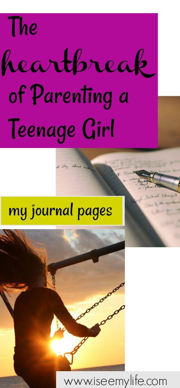 girl swinging and pen on journal pages caption heartbreak of parenting a teenage girl